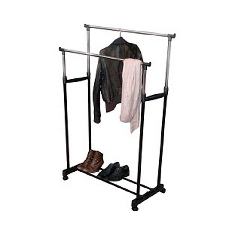 Double Clothes Rail Wardrobe Storage Shoe Shelf Adjustable Home inside Double Clothes Rail Wardrobes (Image 8 of 30)