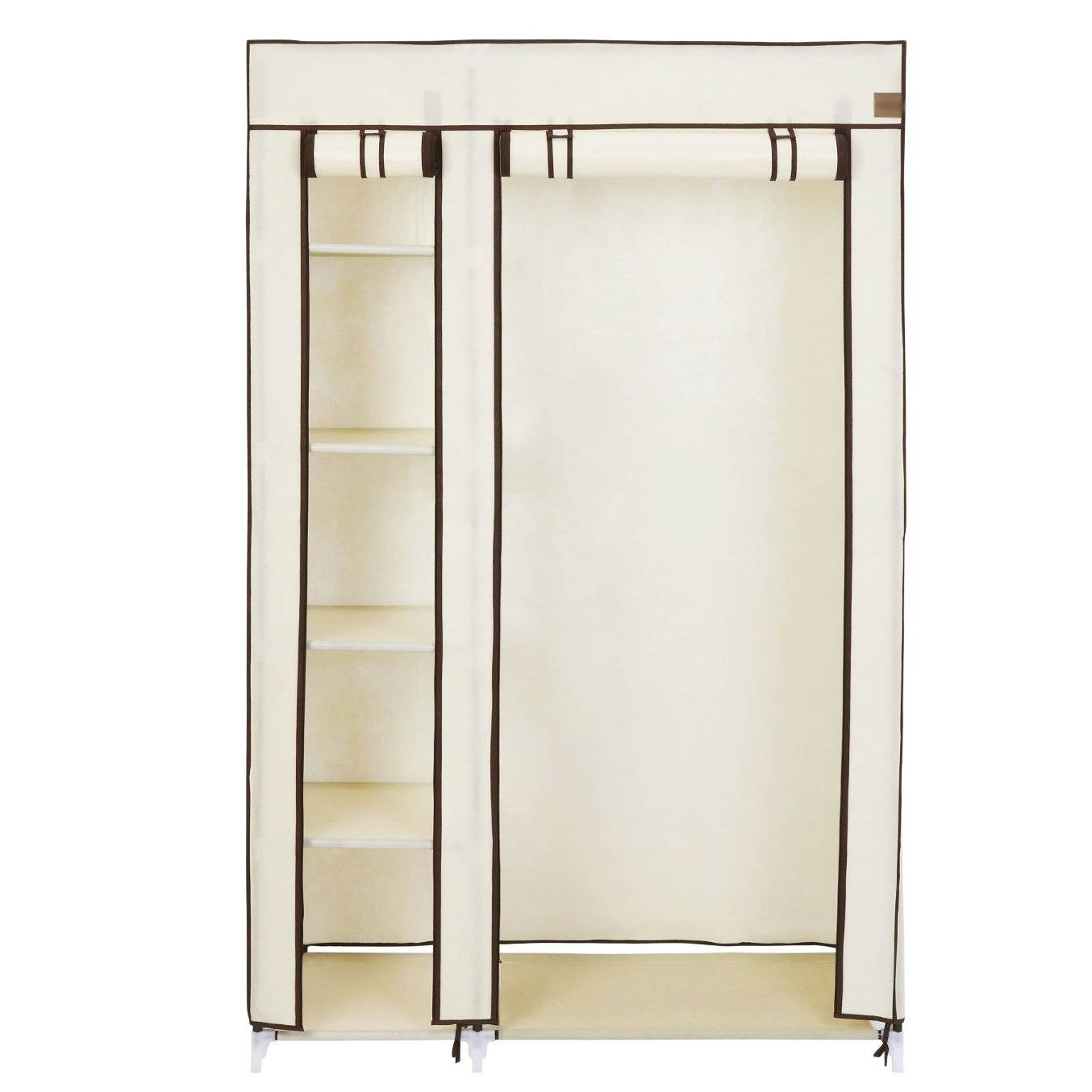 Double Cream Canvas Wardrobe Clothes Rail Hanging Storage Closet for Double Rail Canvas Wardrobes (Image 9 of 30)