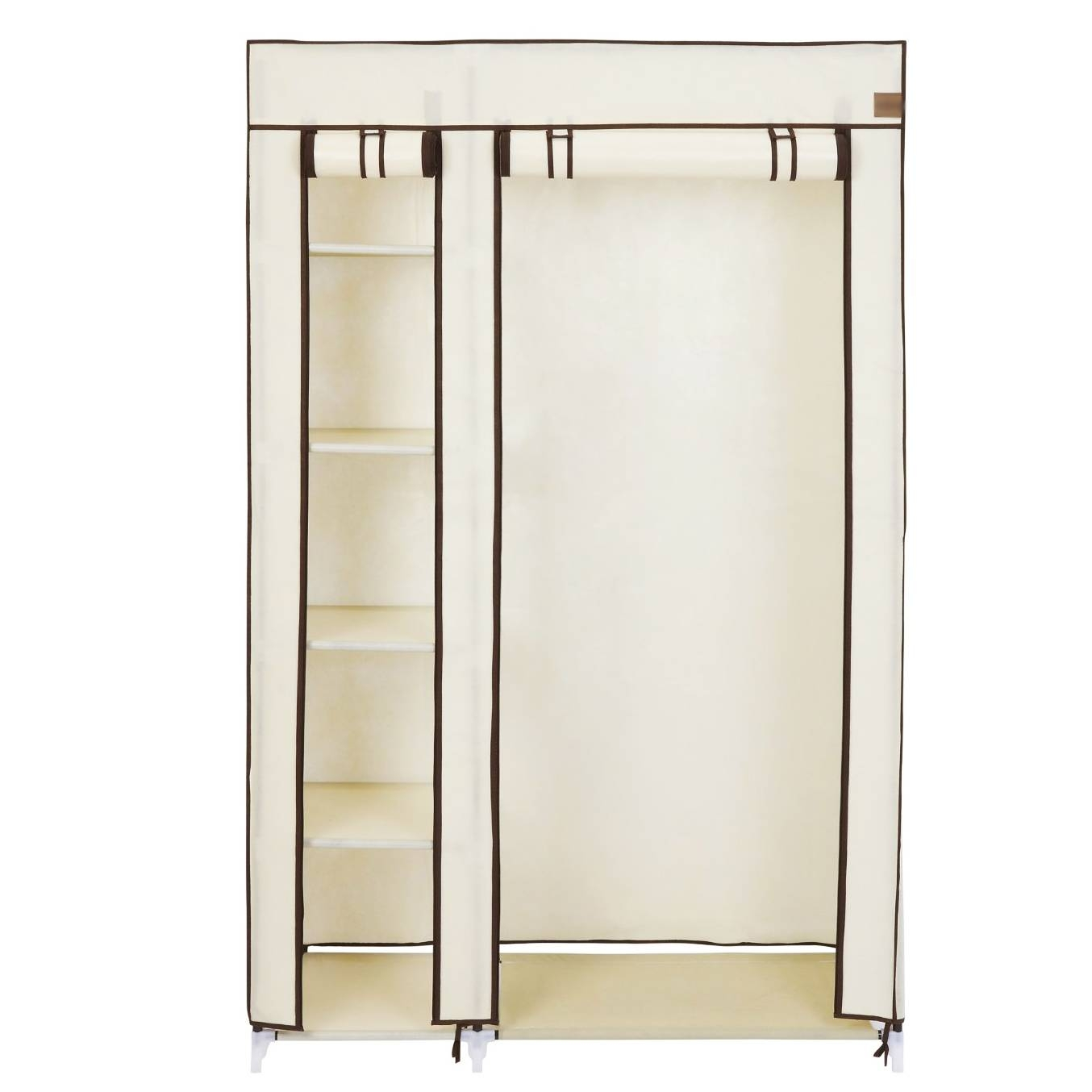 Double Cream Canvas Wardrobe Clothes Rail Hanging Storage Closet pertaining to Double Canvas Wardrobes Rail Clothes Storage (Image 10 of 30)