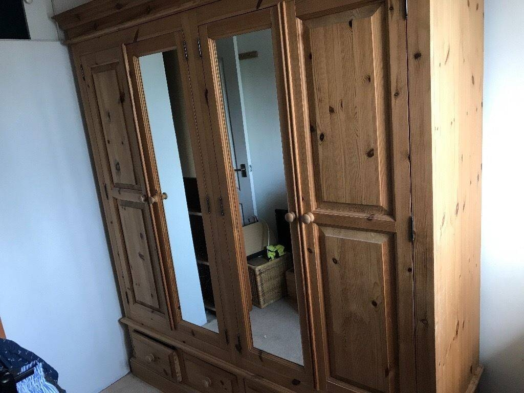 Double Pine Wardrobe With Mirrors, 4 Drawers And 4 Shelves | In in Pine Wardrobe With Drawers and Shelves (Image 12 of 30)