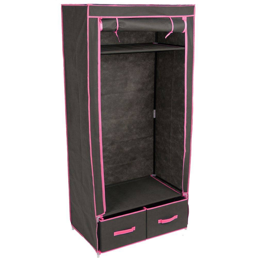 Double Wardrobe Black Canvas Style Rail Bedroom Clothes Storage with regard to Double Canvas Wardrobes Rail Clothes Storage (Image 11 of 30)
