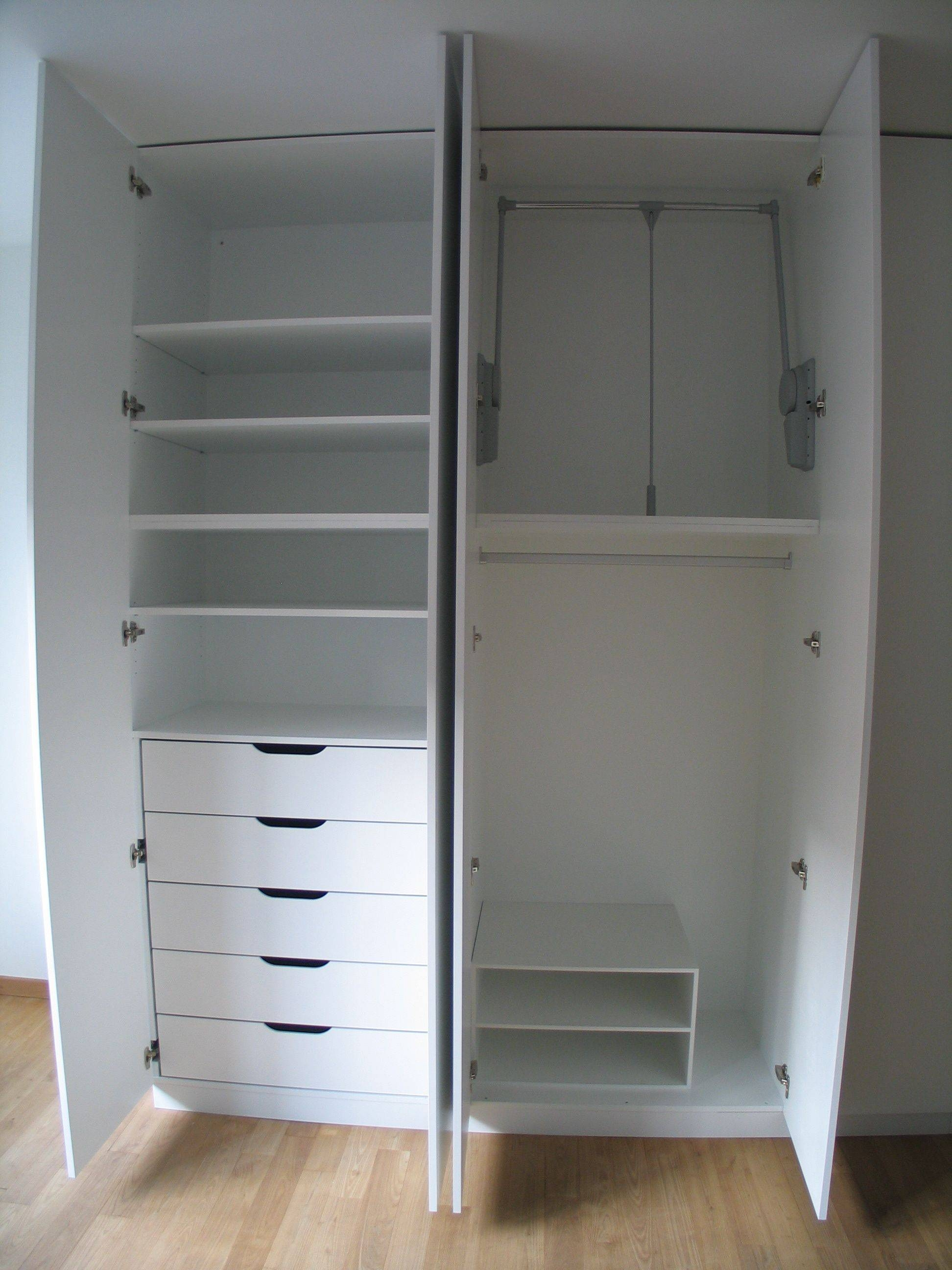 Double White Drawers Under The Shelves Also Hanging Space Combined for Double Wardrobe With Drawers And Shelves (Image 10 of 30)