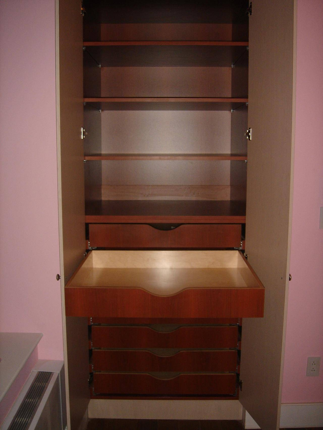 Double White Drawers Under The Shelves Also Hanging Space Combined with regard to Double Wardrobe With Drawers and Shelves (Image 12 of 30)