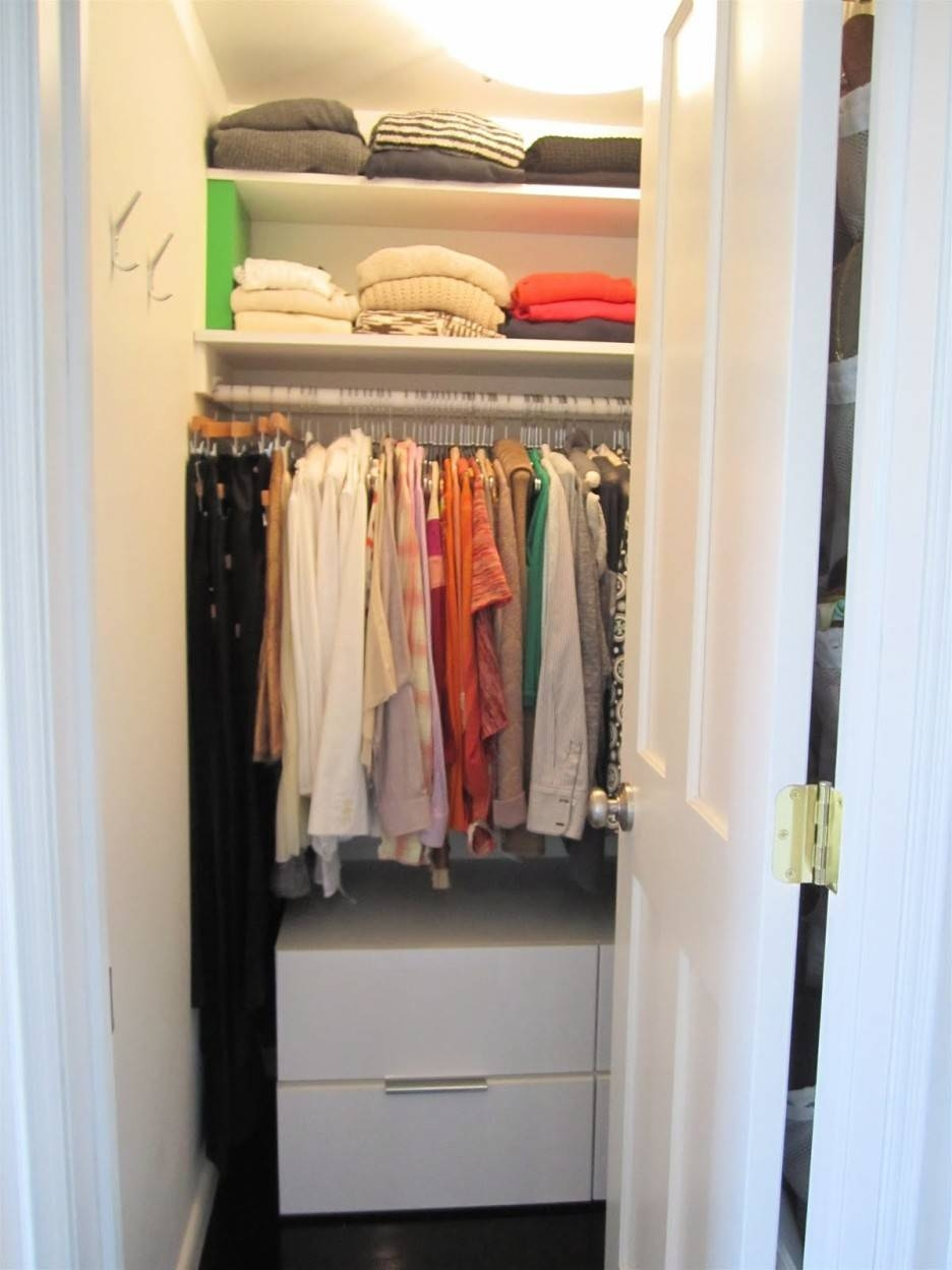Double White Drawers Under The Shelves Also Hanging Space Combined with regard to Double Wardrobe With Drawers And Shelves (Image 11 of 30)