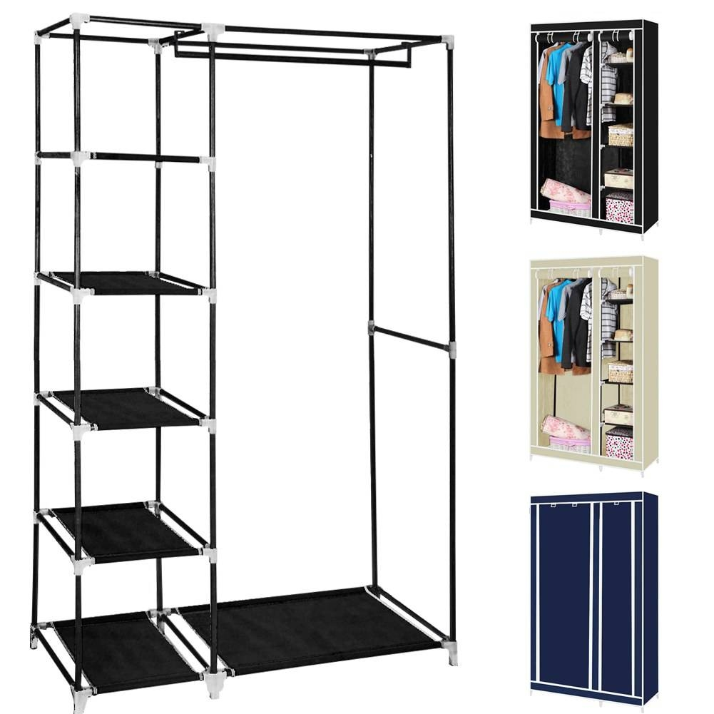 Double/triple Canvas Wardrobe Cupboard Hanging Clothes Rail in Double Rail Canvas Wardrobes (Image 12 of 30)