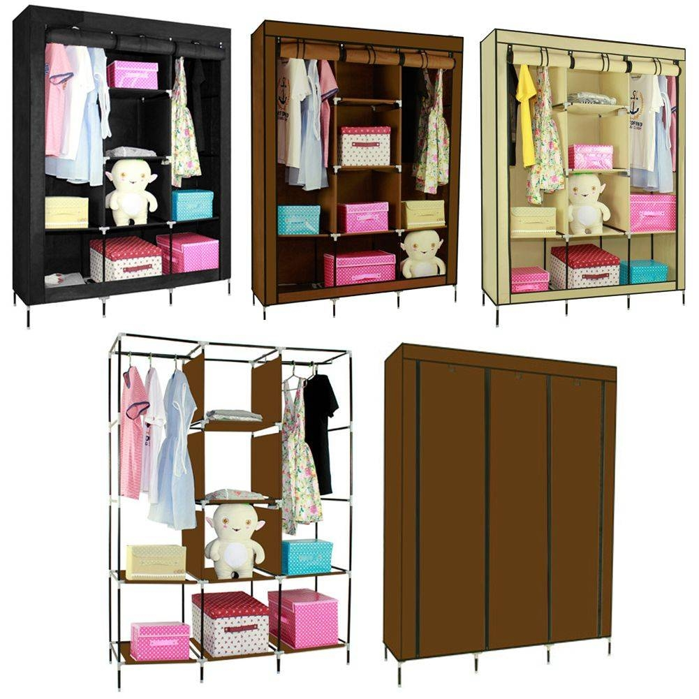 Double/triple Canvas Wardrobe Cupboard Hanging Clothes Rail with regard to Double Rail Canvas Wardrobes (Image 14 of 30)