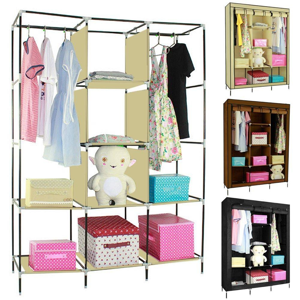 Double/triple Canvas Wardrobe Cupboard Hanging Clothes Rail with regard to Double Rail Canvas Wardrobes (Image 13 of 30)