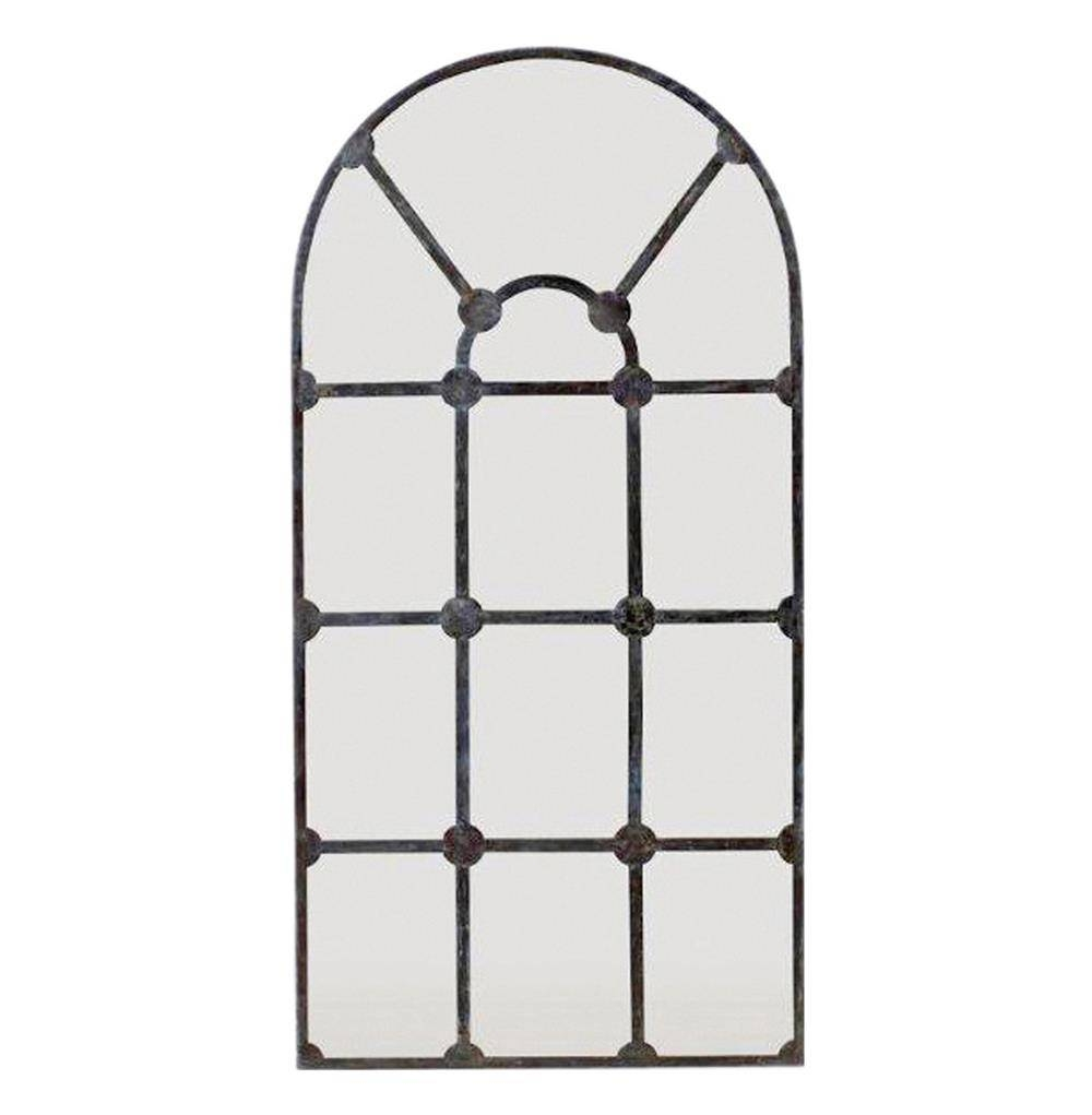 Drake Antique French Window Pane Arched Metal Mirror | Kathy Kuo Home within White Metal Mirrors (Image 11 of 25)