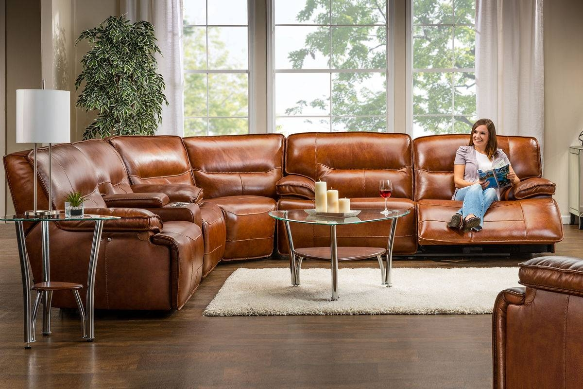 Drake Leather Power Reclining Sectional in Sectional Sofas With Electric Recliners (Image 6 of 30)