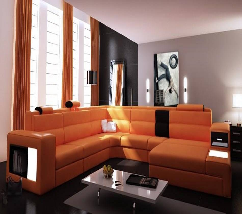 Dreamfurniture - Divani Casa Polaris - Contemporary Bonded pertaining to Sofas With Lights (Image 11 of 30)