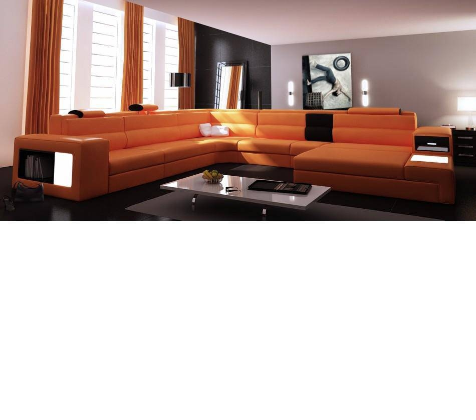 Dreamfurniture - Divani Casa Polaris - Contemporary Leather inside Sofas With Lights (Image 12 of 30)