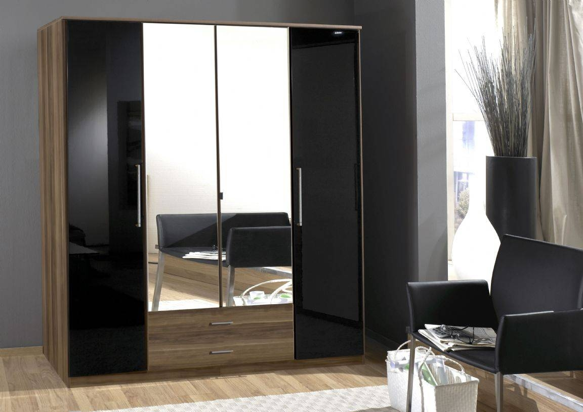 Dresden 3 Door German Wardrobe Black Gloss And Walnut 136482 pertaining to Gloss Black Wardrobes (Image 3 of 15)