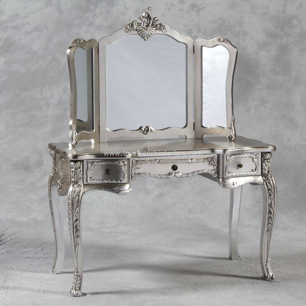 Dressing Table And Triple Mirror In Antique Silver Regarding Silver Antique Mirrors (View 11 of 25)