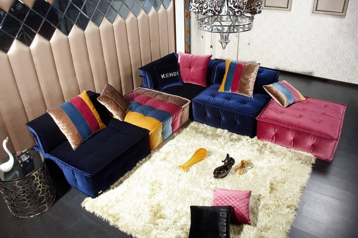 Dubai Transitional Fabric Sectional Sofa throughout Colorful Sectional Sofas (Image 12 of 30)