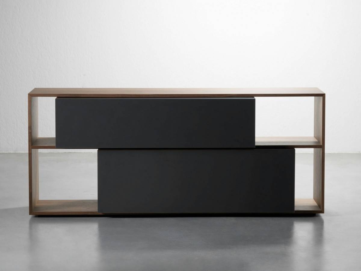 Duble Buffet With Veneer Walnut Structure, Lacquered Drawers with Black and Walnut Sideboards (Image 16 of 30)