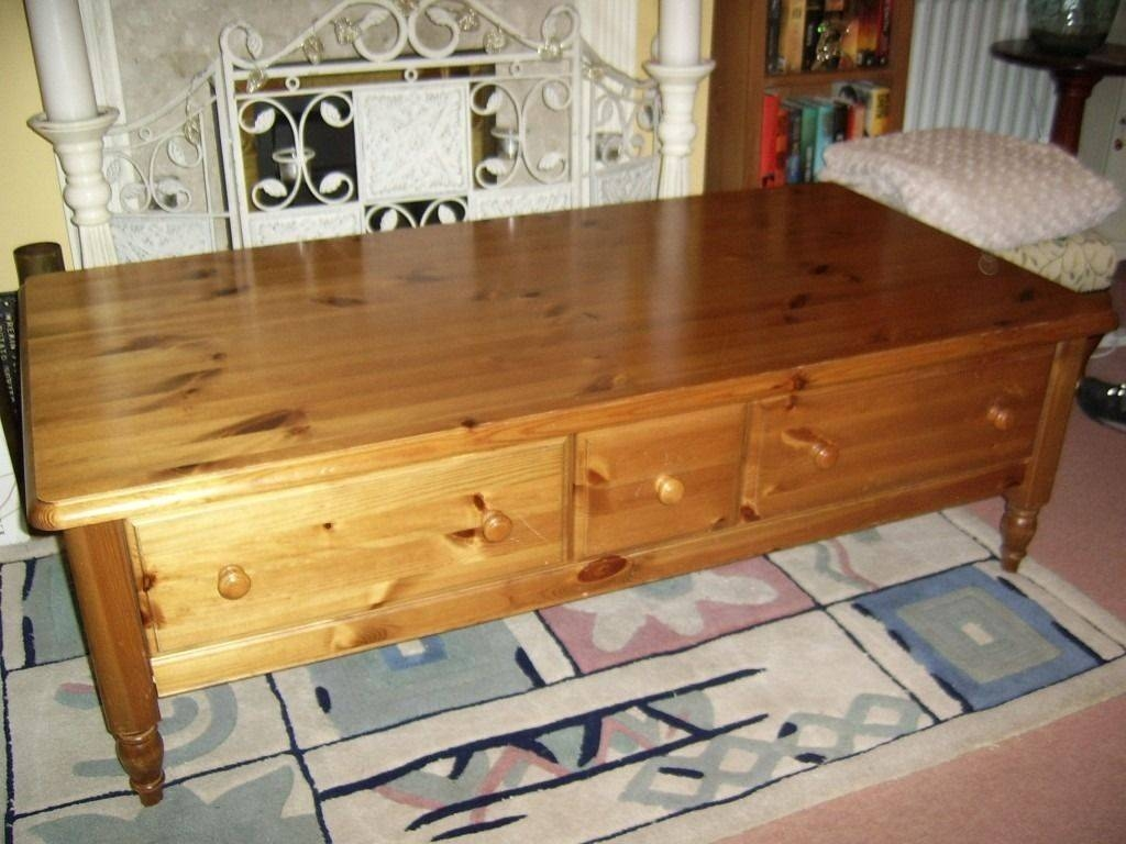 Ducal Antique Pine Coffee Table With Drawers In Fair Oak Within Tables