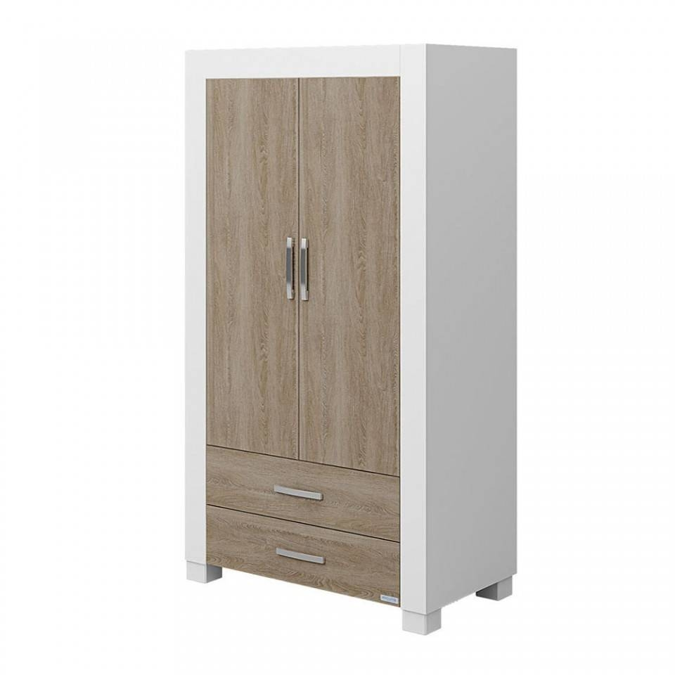 Duke Wardrobe - White/wood pertaining to White Wood Wardrobes (Image 2 of 15)