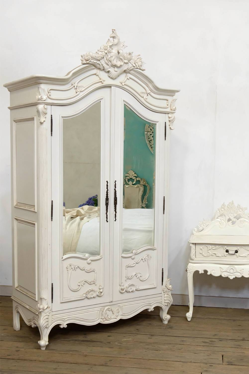 Dusx French Rococo Antique White Armoire Wardrobe With Bevelled with French White Wardrobes (Image 6 of 15)