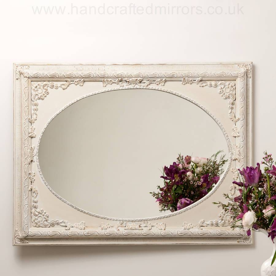 Dutch Oval French Hand Painted Ornate Mirrorhand Crafted in Cream Ornate Mirrors (Image 4 of 25)