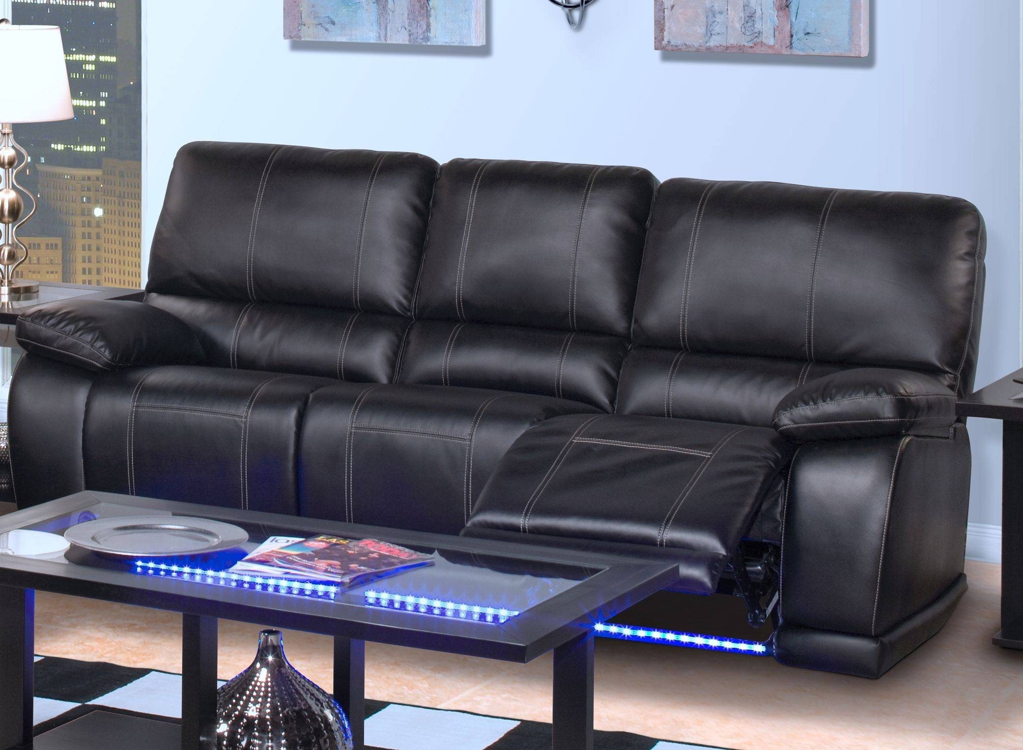 Dylan Power Reclining Sofa Black | Big's Furniture Store Las Vegas with Sofas With Lights (Image 13 of 30)