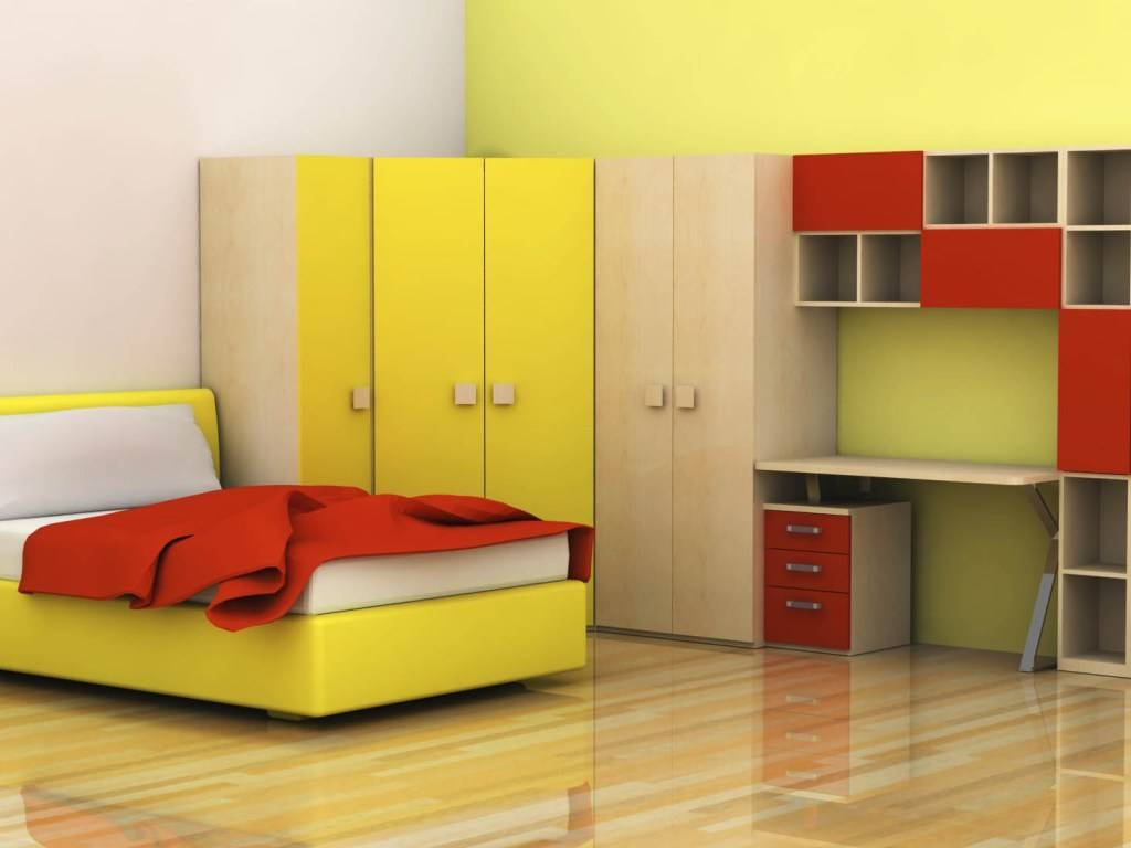 ▻ Ideas : Simple Kids Bedroom Design Features Yellow Single Bed pertaining to Single Wardrobe With Drawers And Shelves (Image 30 of 30)