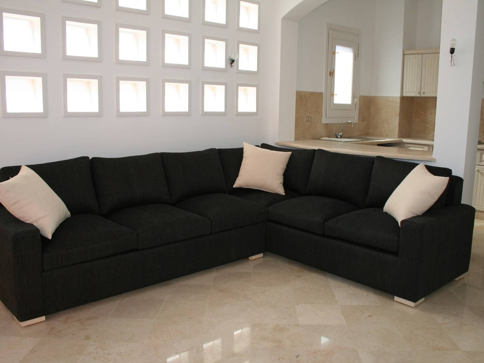 ▻ Sofa : 40 Black Fabric L Shaped Sectional Couch With Square regarding L Shaped Fabric Sofas (Image 30 of 30)