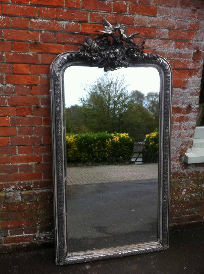 Early 19Th Century Large French Silvered Ornate Mirror – Antique Throughout Large Ornate Mirrors (View 4 of 25)