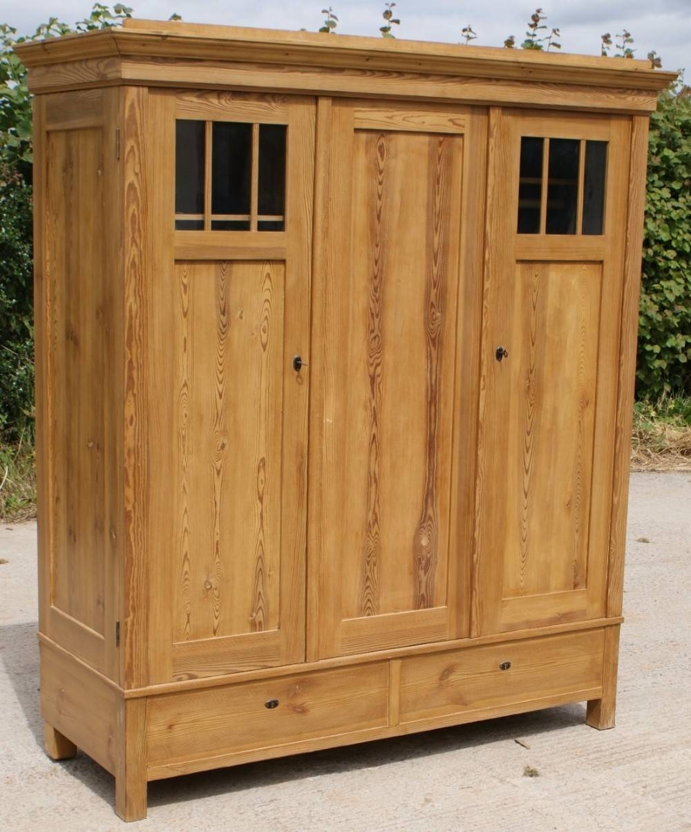 Early 20Th Century Large Antique German Solid Pine Armoire in Large Antique Wardrobes (Image 5 of 15)