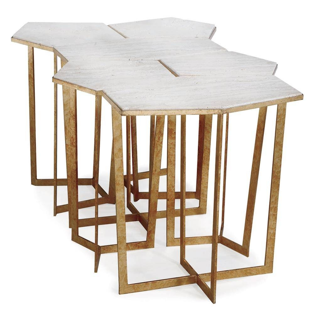 Eastwood Hollywood Regency Travertine Gold Leaf Puzzle Coffee in Puzzle Coffee Tables (Image 17 of 30)