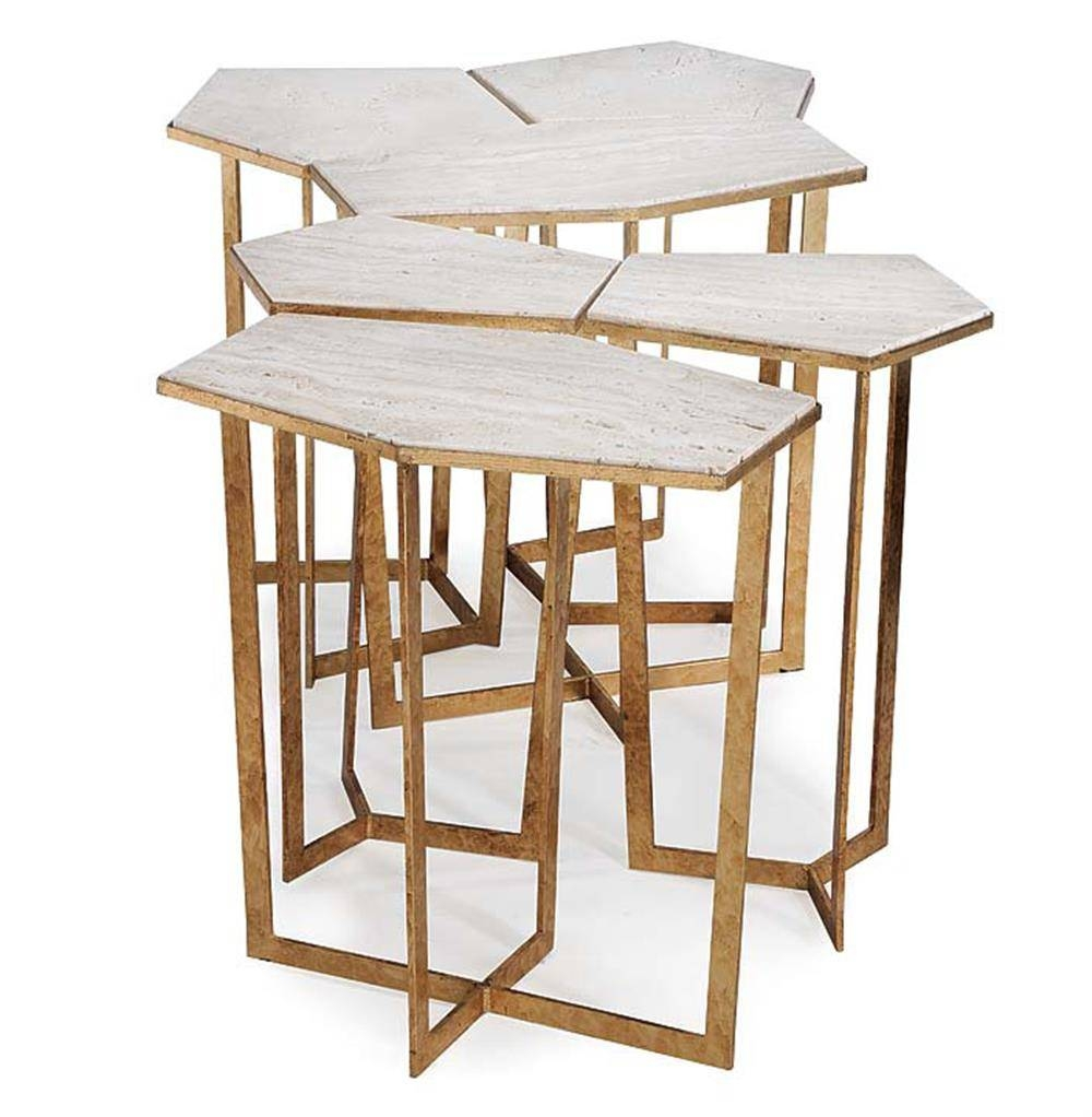 Eastwood Hollywood Regency Travertine Gold Leaf Puzzle Coffee with Puzzle Coffee Tables (Image 18 of 30)