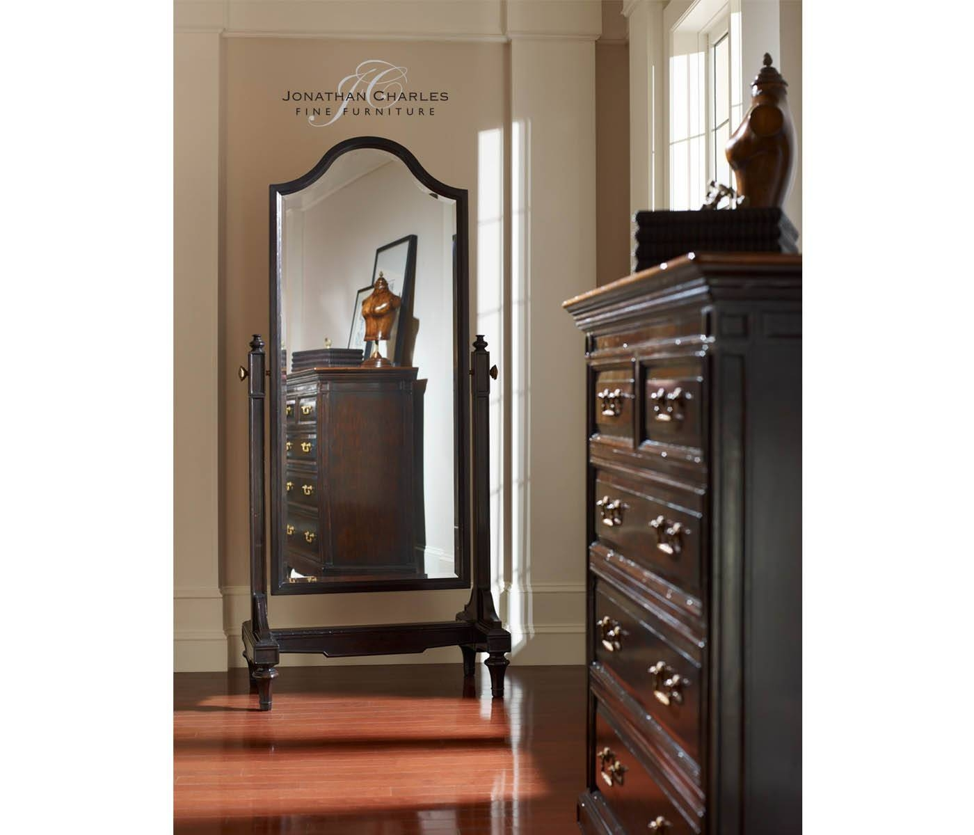 Ebonised Cheval Mirror (Full Length) with regard to Full Length Cheval Mirrors (Image 16 of 25)