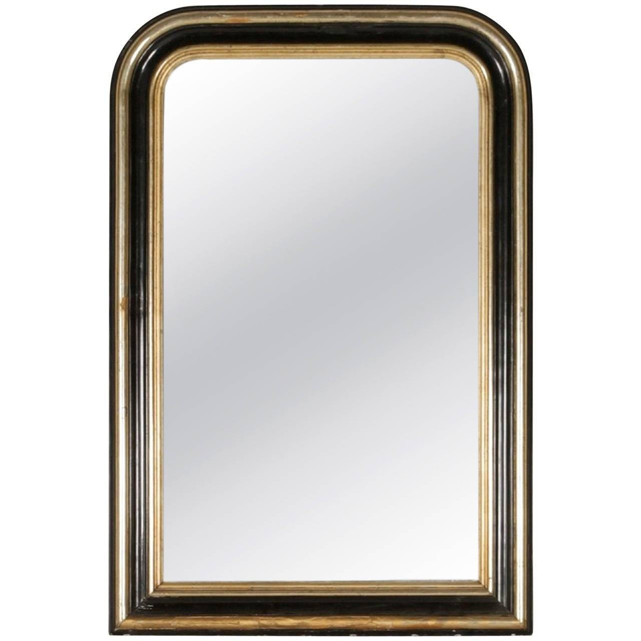 Ebonized And Silver Gilt Louis Philippe Mirror With Molded Frame regarding Silver Gilt Mirrors (Image 7 of 25)