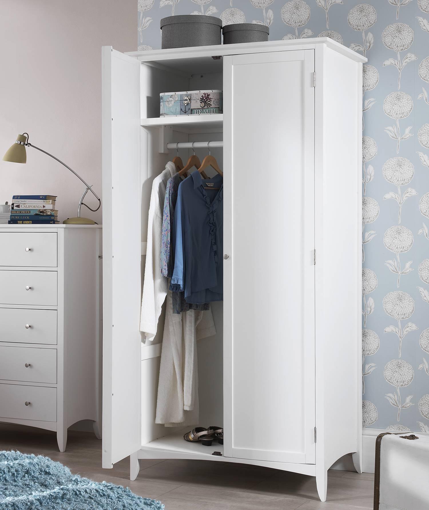 Edward Hopper White Double Wardrobe, Quality Large Wardrobe, Shelf throughout Double Rail White Wardrobes (Image 5 of 21)