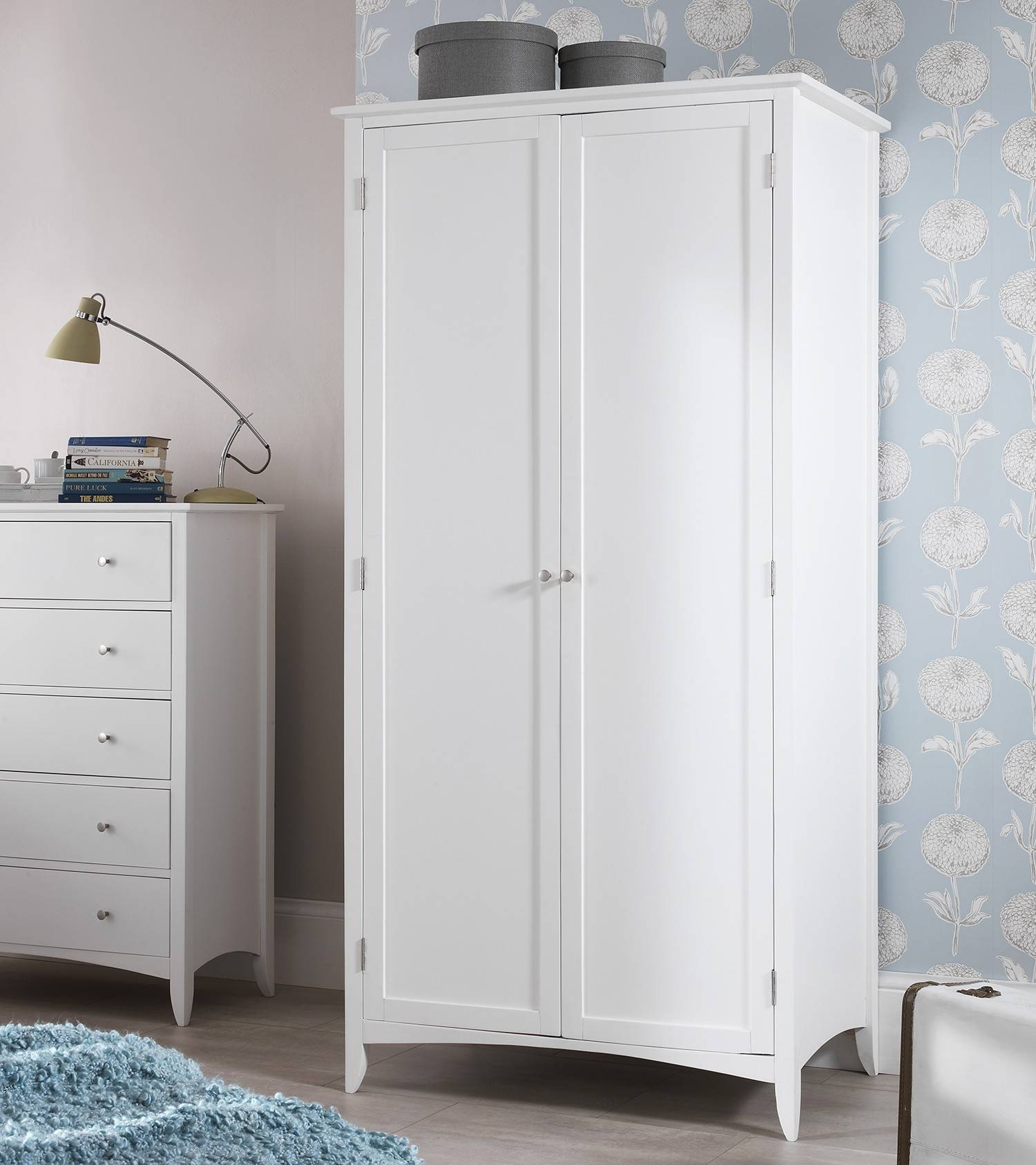 Edward Hopper White Double Wardrober | Bedroom Furniture Direct within Double Rail White Wardrobes (Image 6 of 21)