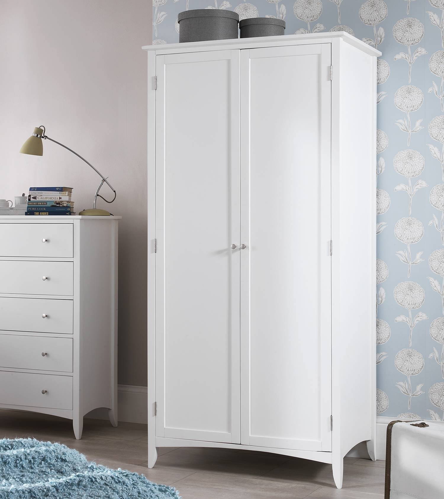 Edward Hopper White Furniture, Bedside Table, Chest Of Drawers with White Double Wardrobes With Drawers (Image 8 of 15)