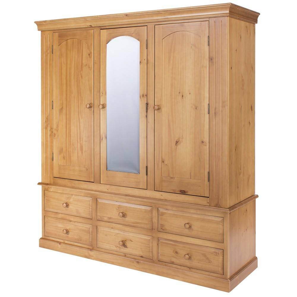 Edwardian Medium-Light Lacquer Finished Pine 3 Door (1 Mirrored) + in Double Rail Wardrobe With Drawers (Image 11 of 30)