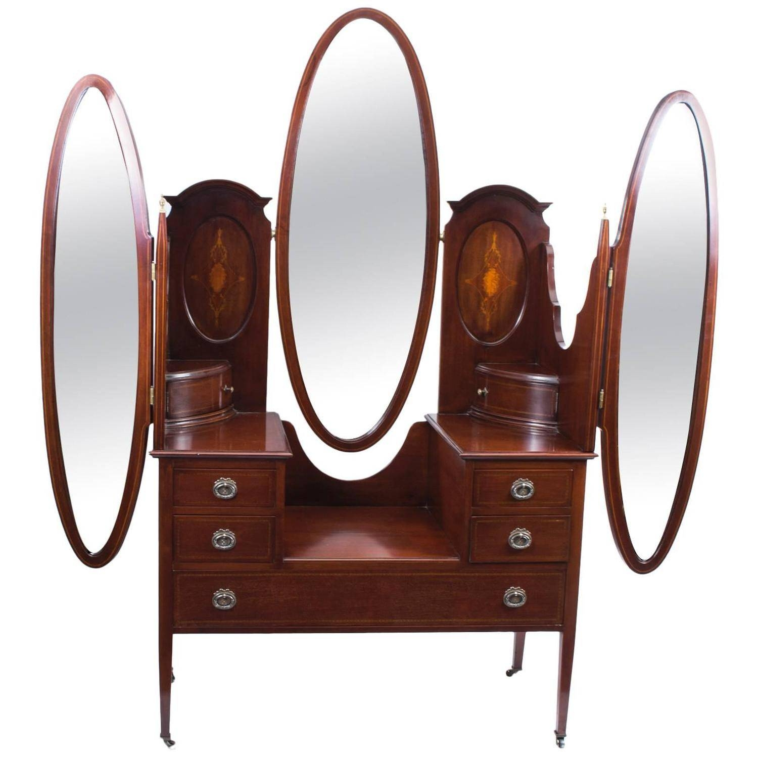 Edwardian Mirrors - 23 For Sale At 1Stdibs pertaining to Triple Oval Mirrors (Image 8 of 25)