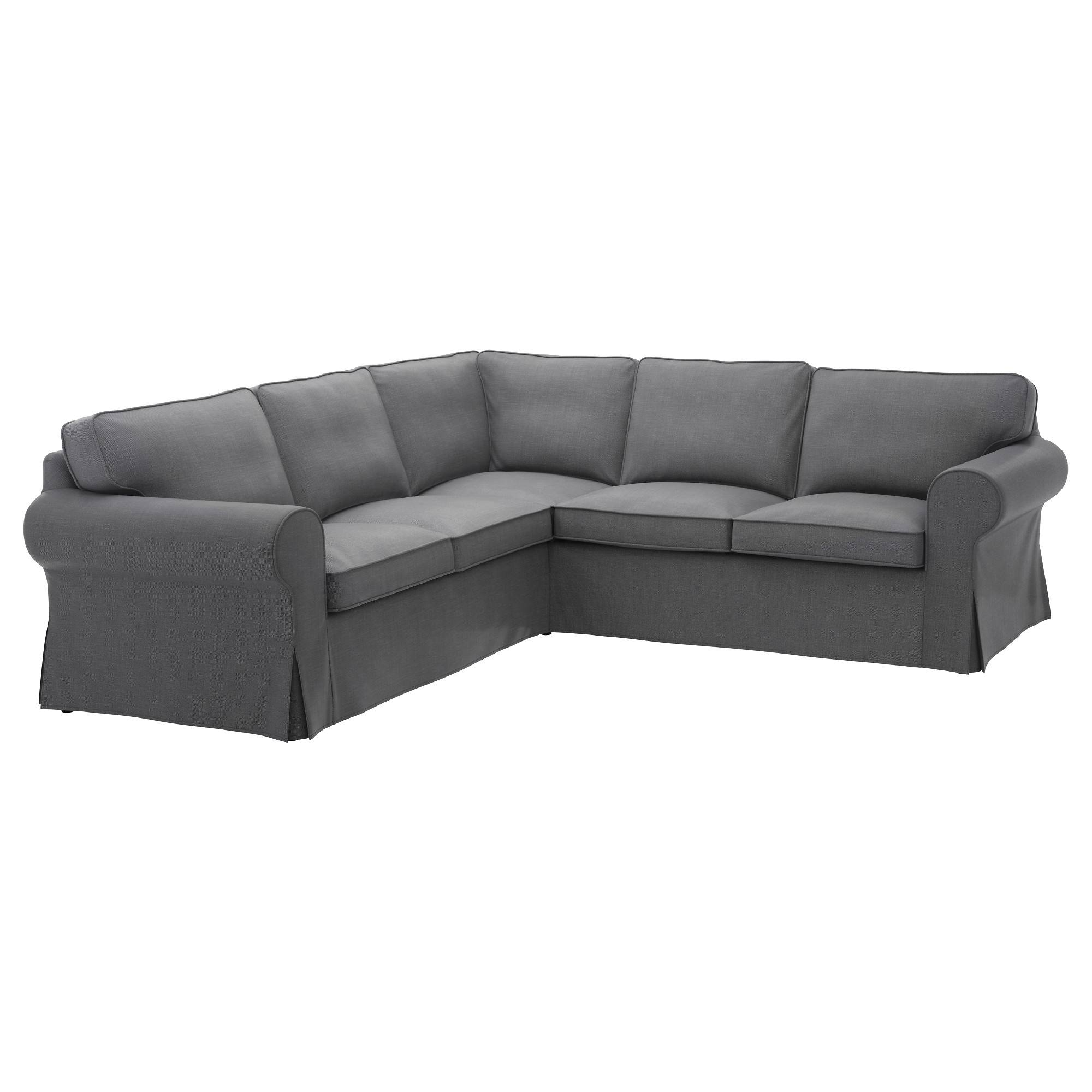 Ektorp Cover For 4-Seat Corner Sectional - Nordvalla Dark Gray - Ikea in Large 4 Seater Sofas (Image 7 of 30)