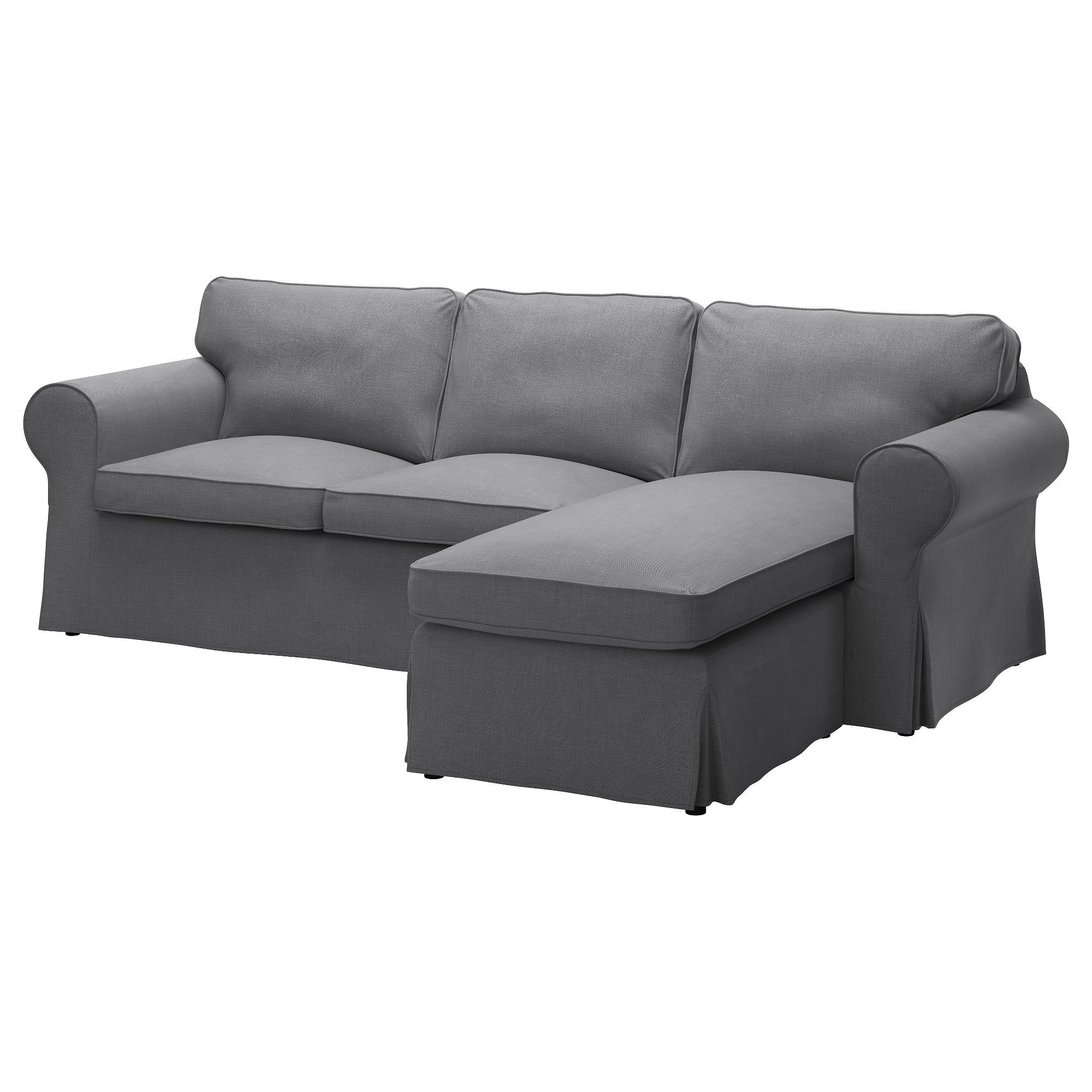 Ektorp Two-Seat Sofa And Chaise Longue Nordvalla Dark Grey - Ikea with regard to Ikea Chaise Lounge Sofa (Image 10 of 30)