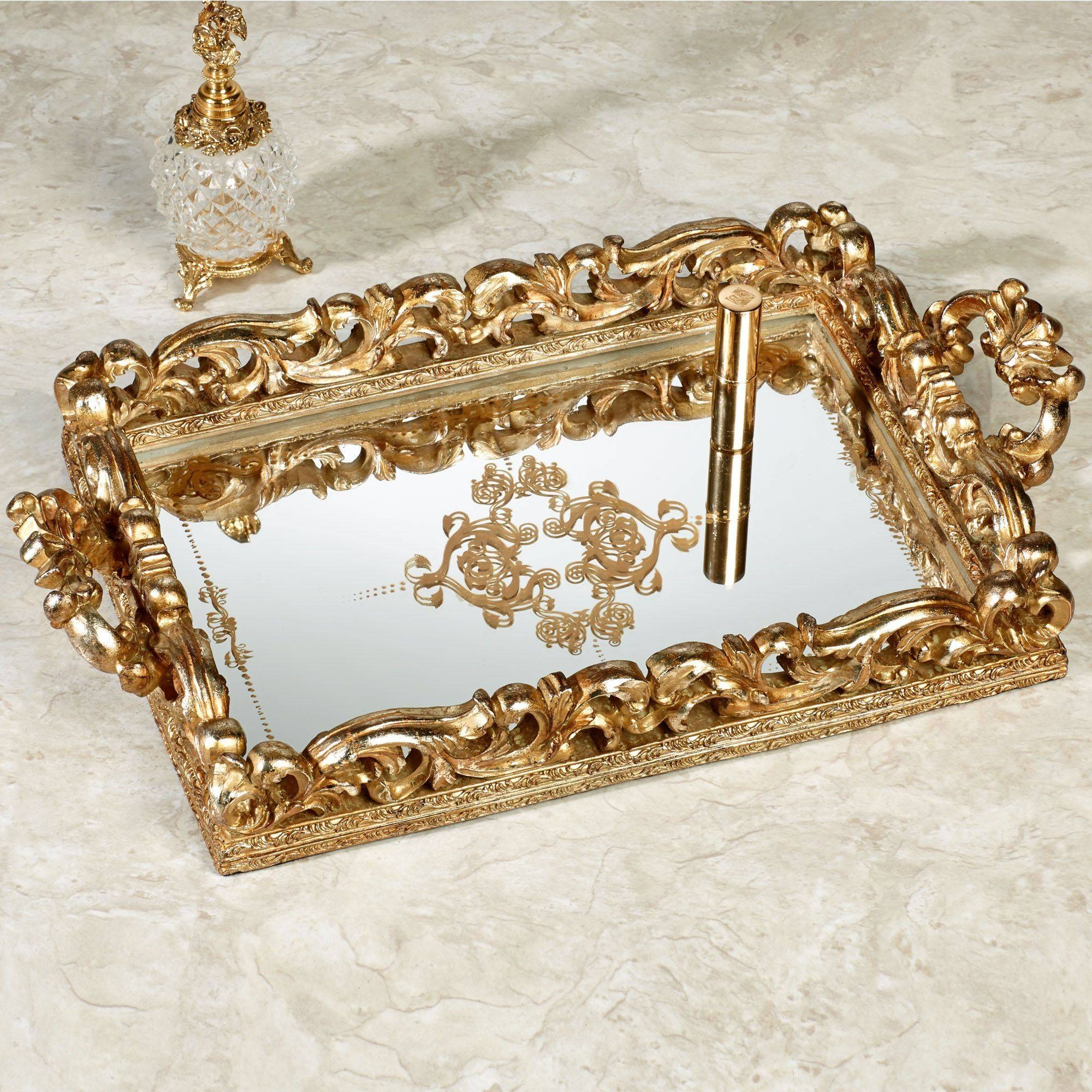 Elaine Venetian Gold Mirrored Vanity Tray intended for Venetian Tray Mirrors (Image 9 of 25)