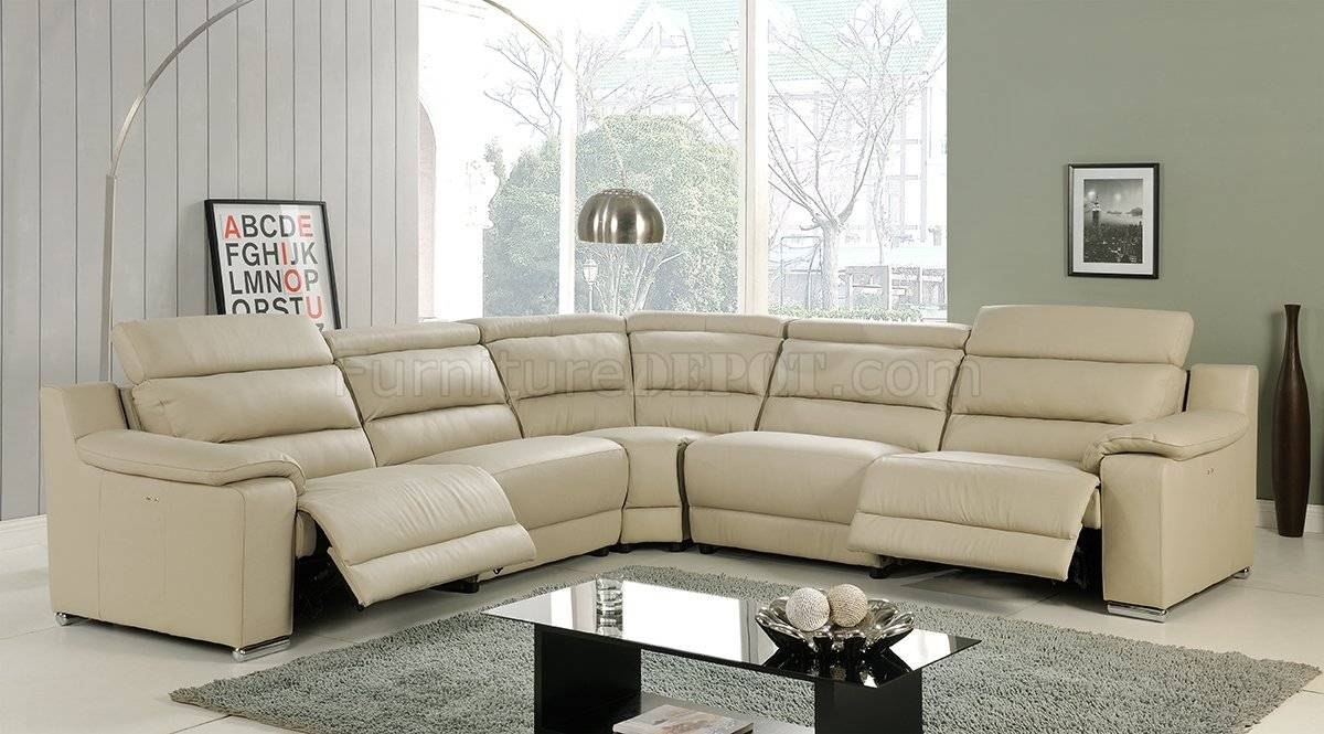 Elda Reclining Sectional Sofa In Beige Leatherat Home Usa throughout Leather Motion Sectional Sofa (Image 10 of 25)