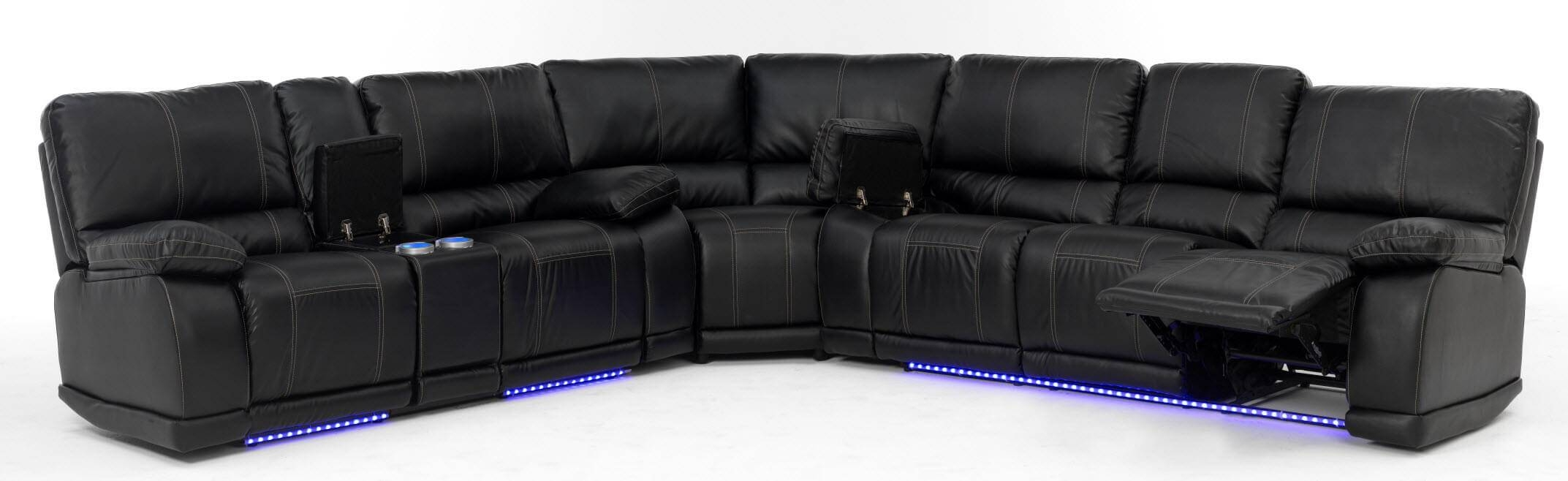 Electra Power Reclining Sectional With Led Lights pertaining to Sofas With Lights (Image 14 of 30)