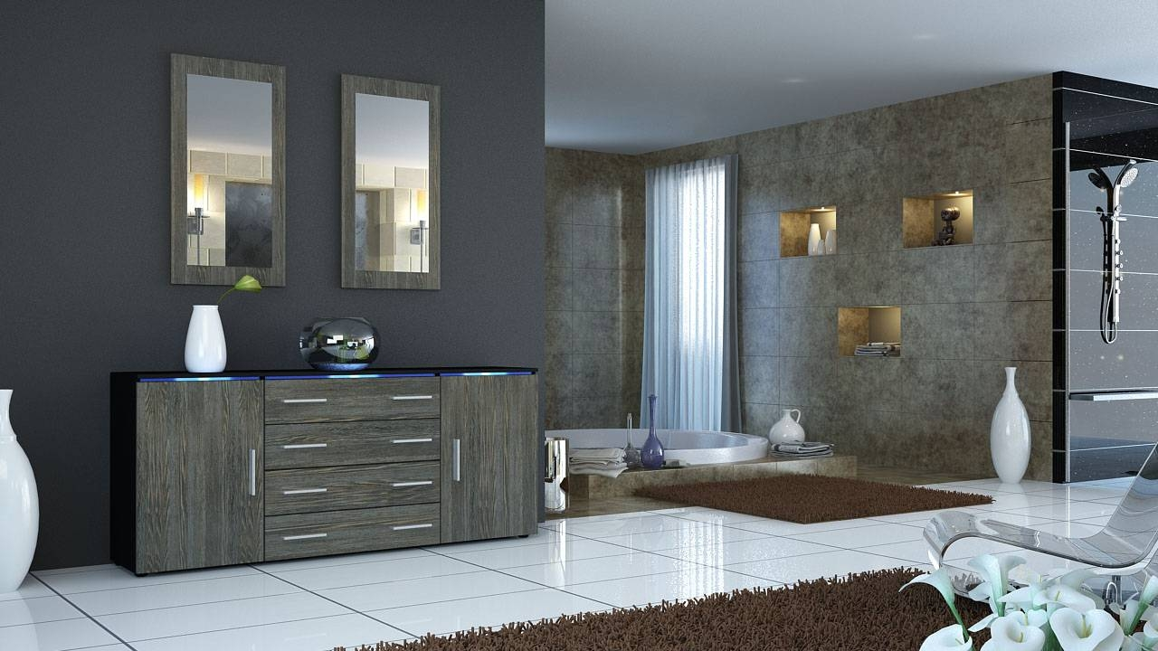 Elegant Contemporary Grey Oak Sideboard Design With Four Cabinet inside Grey Gloss Sideboards (Image 9 of 30)