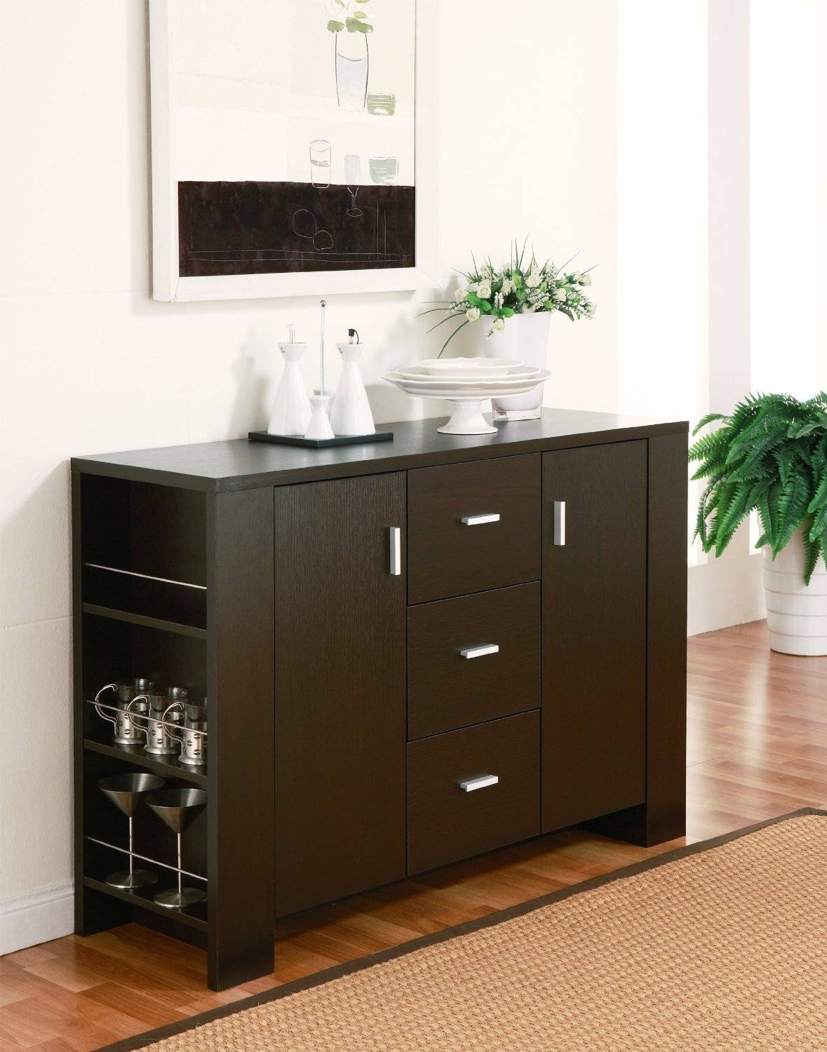 Elegant Dark Brown Color Modern Kitchen Buffet With Rectangle with Dark Sideboards Furniture (Image 9 of 30)