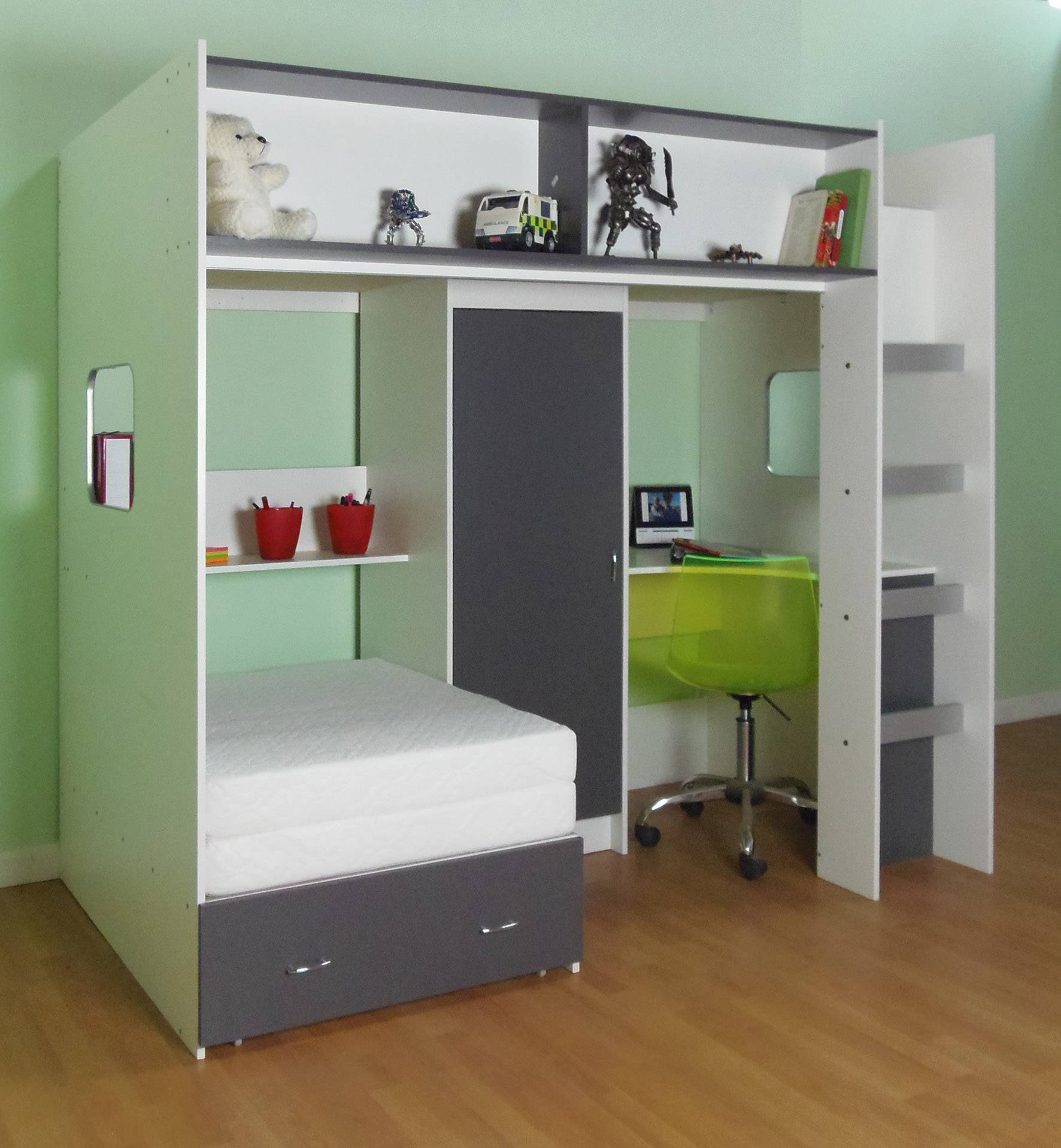 Elegant Green Bedroom Decor With Custom High Beds With Trundle throughout High Sleeper With Sofa And Desk (Image 4 of 25)