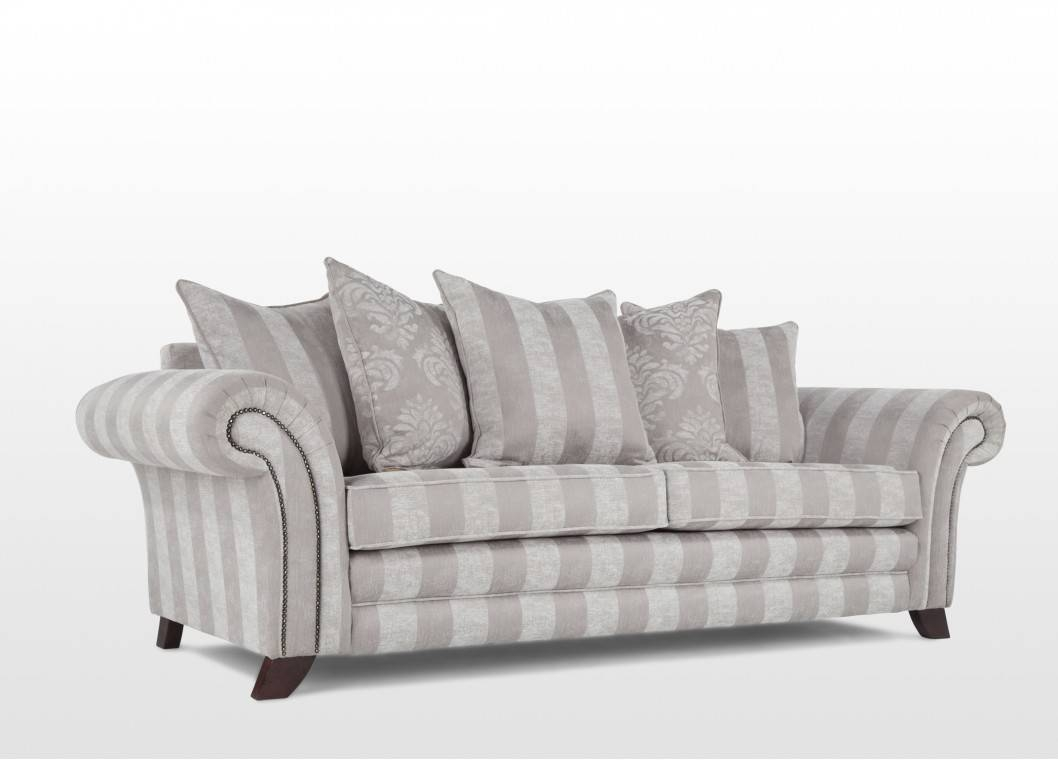 Elegant Grey & White Striped Four Seater Sofa - Clifden regarding Striped Sofas And Chairs (Image 12 of 30)
