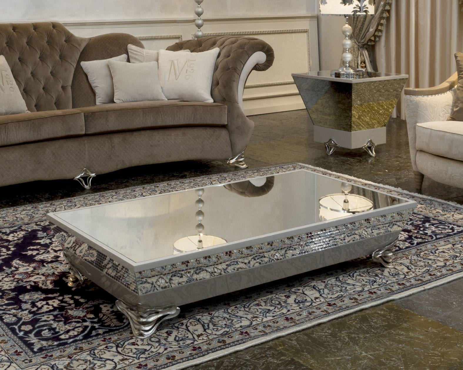 Elegant Luxury Silver Coffee Table – Silver Accent Table, Silver inside Oval Mirrored Coffee Tables (Image 9 of 30)