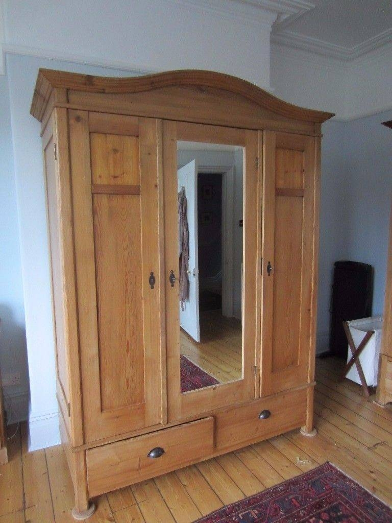 Elegant Period Pine Wardrobe With Mirror, Shelves And Drawers | In throughout Pine Wardrobe With Drawers and Shelves (Image 13 of 30)