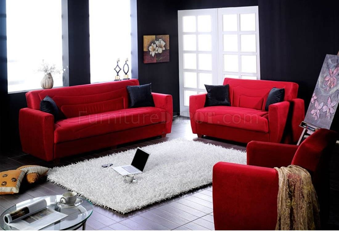 Elegant Red Microfiber Living Room With Storage Sleeper Sofa inside Red Sleeper Sofa (Image 5 of 30)