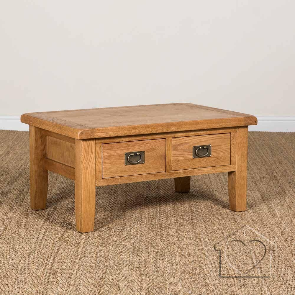Elegant Small Oak Coffee Table With Storage 2 Drawers Underneath pertaining to Light Oak Coffee Tables With Drawers (Image 15 of 30)